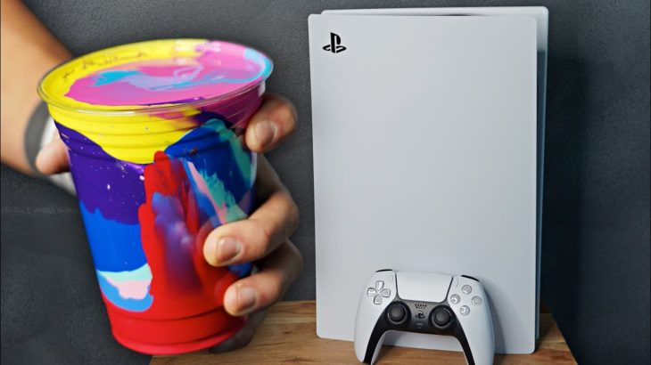 ACRYLIC POURING a PS5!! (Giveaway)